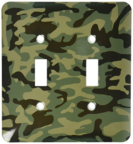 3dRose lsp_157596_2 Dark Green Camo Print Hunting Hunter Or Army Soldier Uniform Style Camouflage Woodland Pattern Light Switch Cover