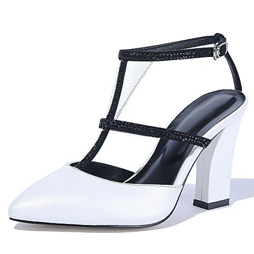 Nine Seven Cuero Moda Puntiagudos Zapatos de Tacón Grueso con Correa de Tobillo para Mujer blanco
