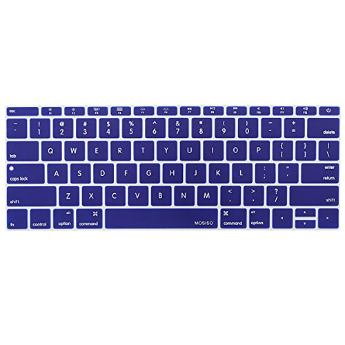MOSISO Silicone Keyboard Cover Protective Skin Compatible MacBook Pro 13 Inch 2017 & 2016 Release A1708 Without Touch Bar, New MacBook 12 Inch A1534, Dark Blue