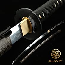 Katana Sword Real Handmade, Sharp Samurai Sword with T10 High Carbon Steel Blade Wooden Scabbard