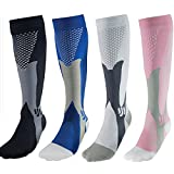 2 Pair Compression Socks for Sports Running Circulation Flight Travel Nurses Football & Recovery(Men & Women)-4 Colors