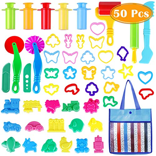 PAXCOO 50 Pcs Clay Dough Tool Party Playset Includes Colorful Cutters Molds Rollers Pumps with Gift Bag, Various Shapes and Assorted Colors