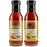 Aubrey D. 2 flavor BBQ HOT Sauce Variety Pack, (12 oz each flavor 24 oz total).