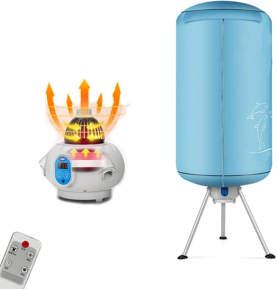 VOCD Calentador De Lavadora-Secadora No Poroso Portátil 900W Eléctrico Secadora De Calor De Secado Rápido En Interiores con Calentador para Hogar Y Dormitorio (Redondo, Azul)