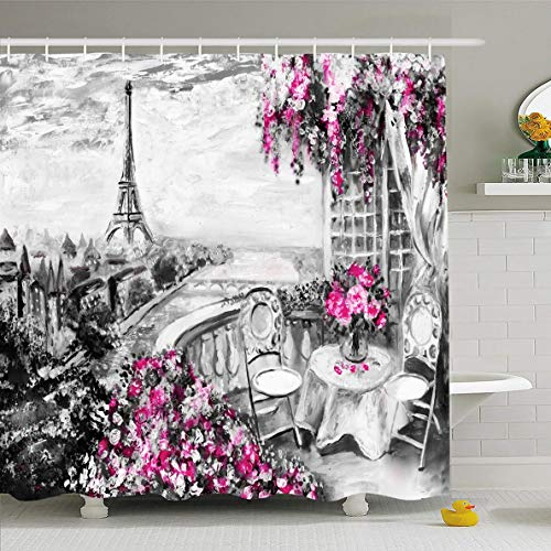 Ahawoso Shower Curtain 72x72 Inches Art Pink France Summer Cafe Paris Gentle Tender Romantic Tower City Eiffel Design Above Waterproof Polyester Fabric Set with Hooks