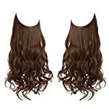 SARLA Light Brown Halo Hair Extensions Long Wavy Curly Synthetic Hair Piece for Women Adjustable Size Transparent Wire Headband Heat Friendly Fiber 22 Inch 5.3 Oz No Clip (M01-22&4/30)