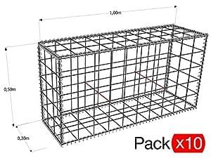 (Pack x10) gavión en Kit 100X 30X 50cm   gavión zinc-Alu Déco jardín   malla 10x 10cm   diámetro inalámbrico 4.5mm espiral con   gavión y rodamientos de refuerzo