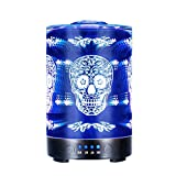 COOSA 100ML Glass 3D Skull Pattern Essential Oil Diffuser, with 4 Time Setting and 7 Beautiful Color Changing LED Lights Cool Mist Humidifier for Home Office Bedroom Living Room (Skull Pattern)