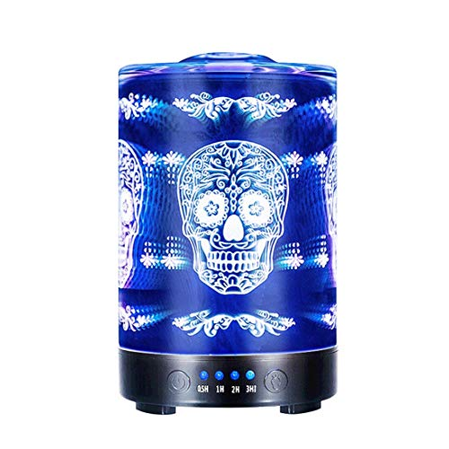 COOSA 100ML Glass 3D Skull Pattern Essential Oil Diffuser, with 4 Time Setting and 7 Beautiful Color Changing LED Lights Cool Mist Humidifier for Home Office Bedroom Living Room (Skull Pattern) by COOSA