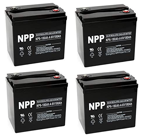 NPP NP6-180Ah 6V 180 Amp AGM Deep Cycle Camper Golf Cart RV Boat Solar Wind Battery (4 Pack) (Golf Gc2 Cart Battery)