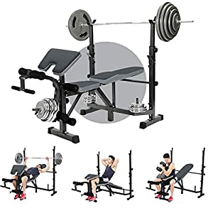 Adjustable Multi-Function Foldable Weight Bench and Fitness Barbell Rack Weight Lifting Support w/Leg Arm Training Equipment – Multi-Functional Home Gym Full-Body Strength Workout Exercise