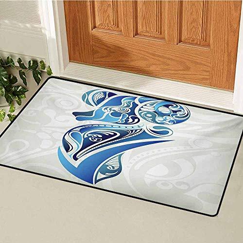 - GUUVOR Zodiac Aries Universal Door mat Artistic Animal Figure with Floral Swirls in Blue Shades Door mat Floor Decoration W23.6 x L35.4 Inch Pale Sage Green Blue Indigo