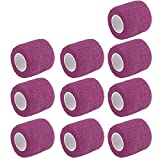 ESUPPORT 2 Inches X 5 Yards Self Adherent Cohesive Wrap Bandages Strong Elastic First Aid Tape for Wrist Ankle Purple Pack of 10