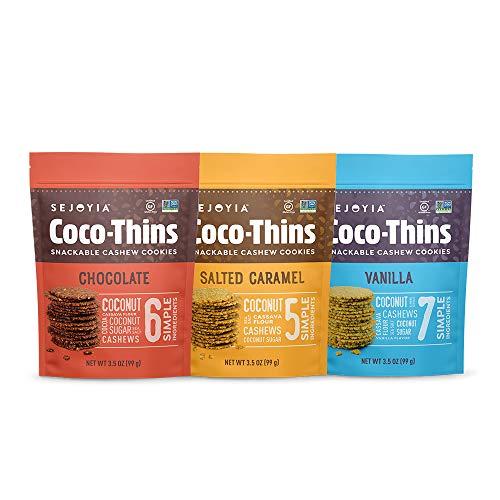 (Sejoyia Gluten Free Vegan Coco Thins Paleo Keto Snacks, Variety Pack, 3.5 Ounce (3 Count), Coconut Sugar)