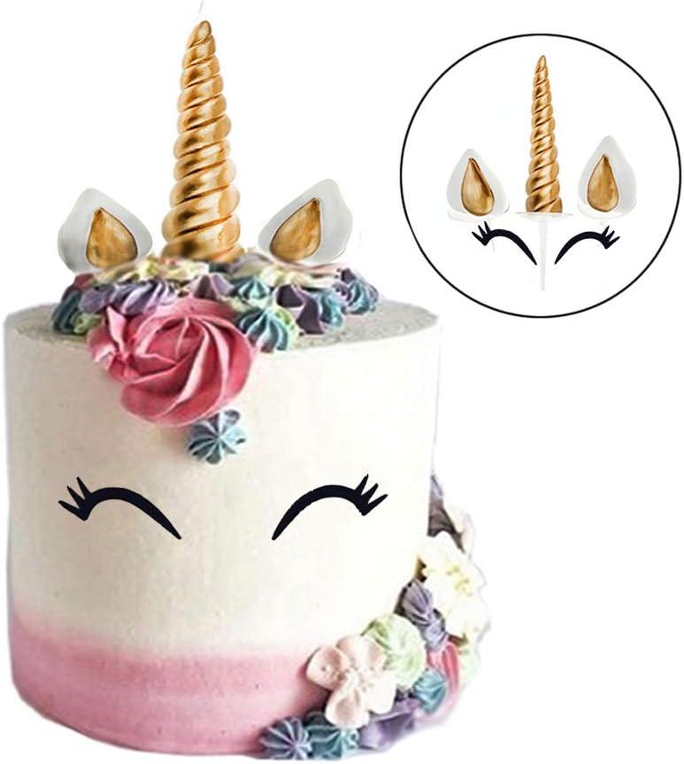 oreilles et cils se Unicorn Horn Unicorn Cake Topper Gold Birthday Cake Topper