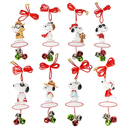 Snoopy Characters Pendants with Jingle Bells 6 inch Resin Christmas Ornaments Set of 8 ()