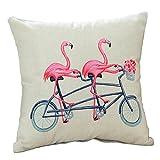 Best Cotton Pillow With Flamingos - 18 X 18 Inch Flamingo Print Cotton Linen Review