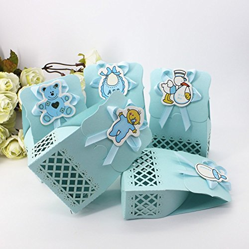 Worldoor 50pcs Cute Baby Shower Event Party Supplies Decoration Boy Paper Baptism Blue Kid Favors Gift Sweet Birthday Bag Candy Box For -