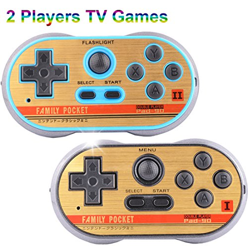 ZHISHAN Retro Games Controller Mini Classic Handheld Game Console Toys for Kids Gamepad Joystick Support Dual Battle Load in 260 Video Games Connect and Play with TV Gaming Station (Black+Blue) by ZHISHAN (Image #1)