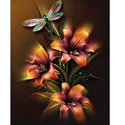 ManxiVoo 5D Embroidery Diamond Paintings Flowers Rhinestone Pasted DIY Painting Cross Stitch 25x30cm