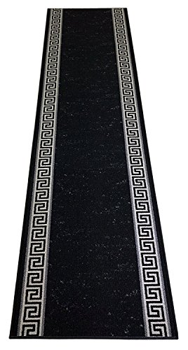 Custom Runner Meander Roll Runner 26 Inch Wide x Your Length Size Choice Slip Skid Resistant Rubber Back 5 Color Options (Black, 29 ft x 26 in) 29' Nylon Rug