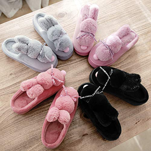 Gris Fourrure forme Mesdames Plate Nikimi Flats Cartoon Printemps Belle Accueil Chaussures Chaussons Chaud Chambre Fausse Femme Filles De Maison ZqwSvwUI