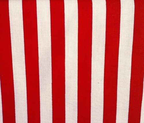 Stripes Big Red White Poly Cotton Fabric