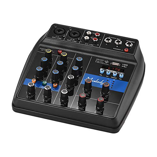 Muslady S-1 Portable 4-Channel BT Mixing Console Digital Audio Mixer Built-in Reverb Effects +48V Phantom Power 2-band EQ DC 5-12V Power Supply for Recording DJ Network Live Broadcast Karaoke - Recording Console