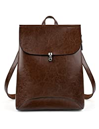 UTO Women's Pu Leather Backpack Purse Ladies Casual Shoulder Bag School Bag for Girls Large Black CA