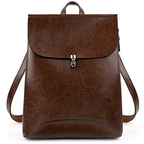 UTO Women's Pu Leather Backpack Purse Ladies Casual Shoulder Bag School Bag for Large Brown