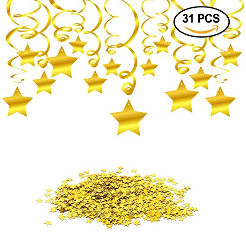 Hanging Swirl Gold Decorations(30 Counts) Gold Star Table Confetti(15 Gram), Konsait Gold Hanging Party Supplies for Wedding Shower Birthday Party Table Decor Twinkle Twinkle Little Star Baby (Twinkle Birthday)