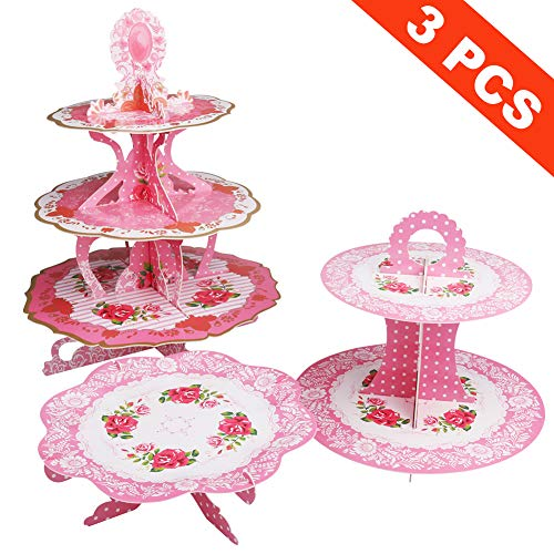 (Aritan Thickened Cardboard Cupcake Stand 3-Set, 3 Tier Dessert Tower 2 Tier Cake Dessert 1 Tier Cake Stand, Display Decorations, Kid Birthday, Wedding, Party)