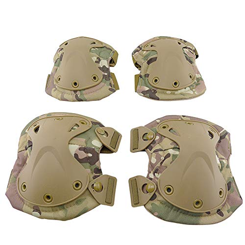 ActionUnion Adult Elbow Pad Knee Pads Protective Gear Set Guard Tactical Shooting Pads Military Army Combat Protection Sports Pads Equipment for CS Paintball Game Biking Skating (CP)