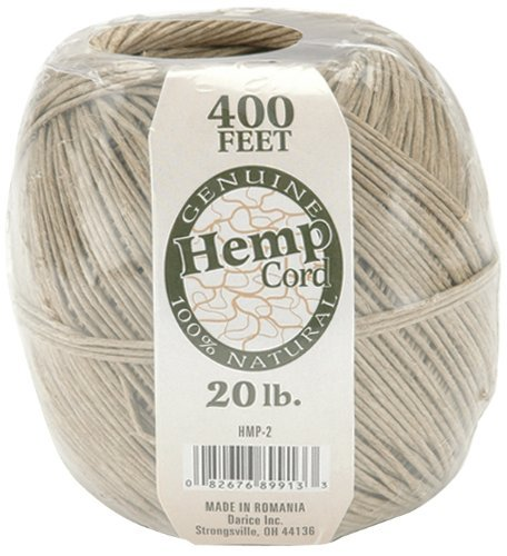 - One Package of 400 feet 100% Natural Hemp Cord #20