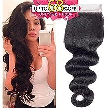"QTHAIR 10a Body Wave Brazilian Virgin Human Hair 4x4 Free Part lace closure 12"" Natural Black Brazilian Body Wave Virgin Human Hair Lace Closure No Bleach Knots"