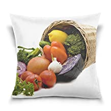 Vegetables Washed Shopping Cart Throw Pillow Case Decorative Cushion Cover Square Pillowcase, Vegetables Washed Shopping Cart Sofa Bed Pillow Case Cover 18 X 18 Inch Twin Sides