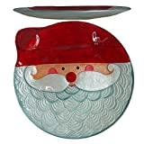 Comfy Hour 12'' Decorative Winter Santa Pattern Round Glass Plate Ideal, Dishwasher Safe, Red and Silvery