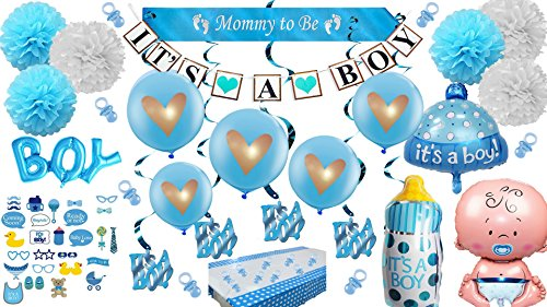 Baby Shower Decorations For Boy Blue It's a Boy! Giant Balloons Photo booth Props Banner Pom Poms Mom Mommy to Be Sash White Gold Pacifiers Garland Tablecloth Ultimate Kit ()
