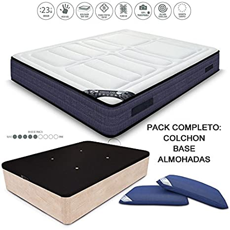 HABITMOBEL Pack Colchon Visco Gel 23 cm, 190 x 150 cm + Canape + Almohada: Amazon.es: Hogar