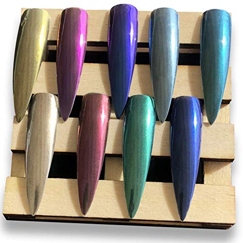9 Boxes Chrome Nail Powder - Super Chrome Powder Rainbow Pack