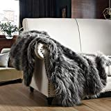 Luxury Faux Fur Throw Blanket, Grey and Black High Pile Mixed Throw Blanket, Super Warm, Fuzzy, Elegant, Fluffy Decoration Blanket Scarf for Sofa, Couch and Bed, 50''x 60''