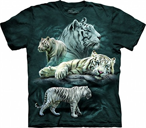 (The Mountain White Tiger Col Child T-Shirt, Blue and Green, XL)
