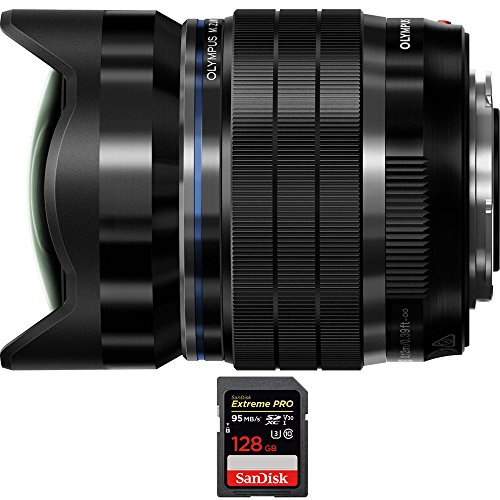 Olympus M.Zuiko Digital ED 8mm f1.8 Fisheye PRO Lens (V312030BU000) with Sandisk Extreme PRO SDXC 128GB UHS-1 Memory Card by Olympus