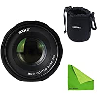 Meike MK-FX-50-2.0 + Lens Bag, 50mm f 2.0 Large Aperture Manual Focus lens APS-C For Fujifilm Mirrroless cameras With EACHSHOT Lens Cleaning Cloth
