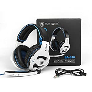 Gaming Headset Xbox One, SADES SA810S Stereo Over-ear Noise Isolation Bass Gaming Headphones with Microphone for PS4 Laptop PC Mac Computer Smart Phones -White
