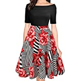 oxiuly Women's Casual Pockets Long Sleeve Off Shoulder Floral Flare Party Dress OX232