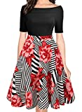 oxiuly Women's Vintage Casual Off Shoulder Pockets Cocktail Work Swing Dress 232 (2XL, Black Red)