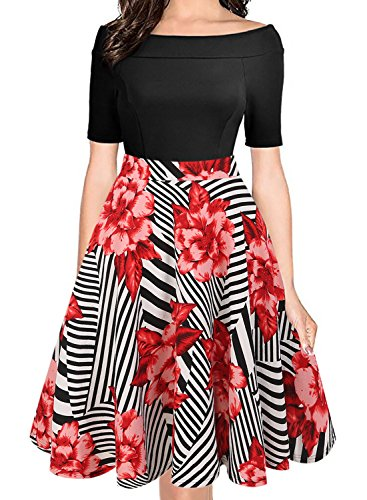 oxiuly Women's Vintage Casual Off Shoulder Pockets Cocktail Work Swing Dress 232 (L, Black Red)