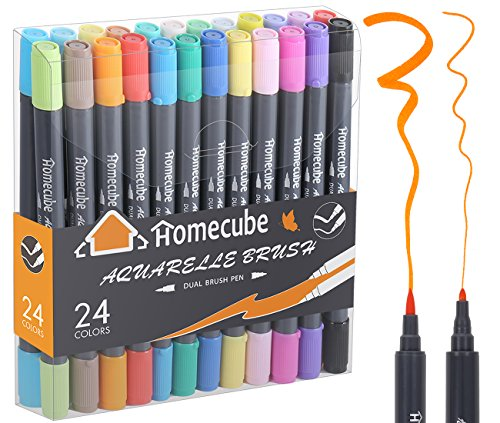 Dual Brush Pen Art Markers, Homecube 24 Watercolor Drawing Pens Highlighters With Water Based Soft Brush Tip and Fine Tip Best for Coloring Book Painting Drawing Sketching Journaling Writing Lettering