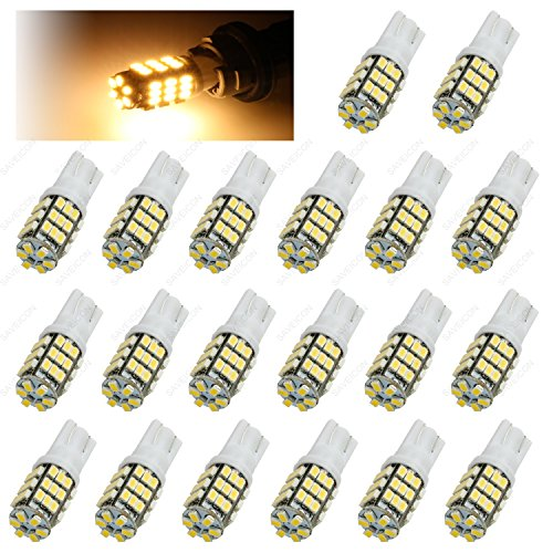 SAWE - 42-SMD T10 168 12V LED Replacement Light Bulbs T15 921 912 906 LED (20 pieces) (Warm White)